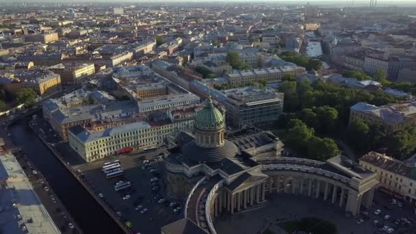 aerial view on Kazan Cathedral in the center of Saint-Petersburg city.