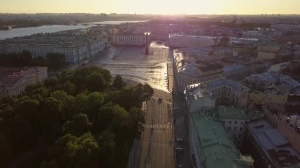 Aerial view on Palace Square, Hermitage in Saint-Petersburg in Russia. The center of the city.
