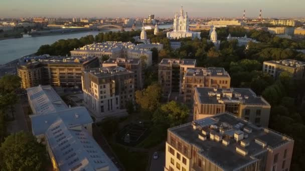 Aerial view on the Smolny Cathedral at Neva river in Saint-Petersburg.
