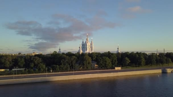 Aerial view on the Smolny Cathedral at Neva river in Saint-Petersburg. Beautiful city panorama opening