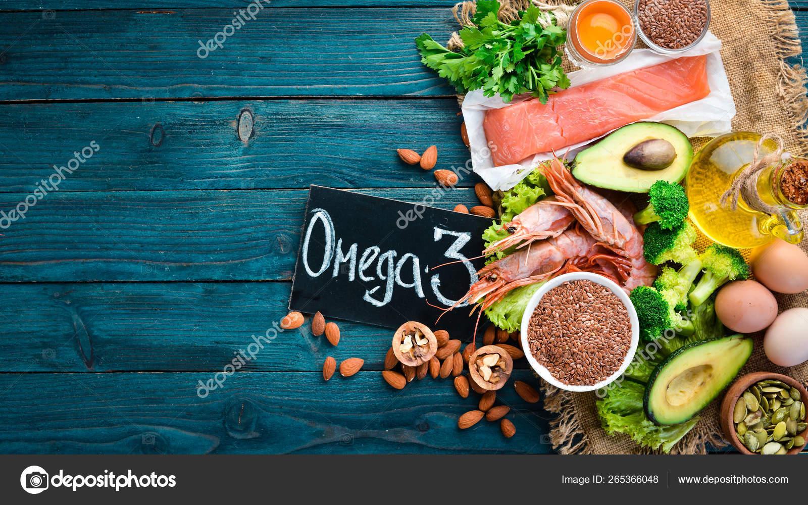 Foods Containing Omega Vitamin Healthy Foods Avocados Fish Shrimp Broccoli Stock Photo C Yarunivphoto 265366048