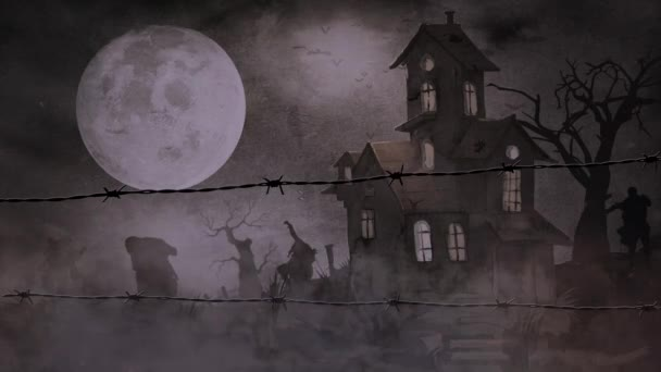 Zombies Fog Barbed Wire Features Zombie Silhouettes Walking Viewer