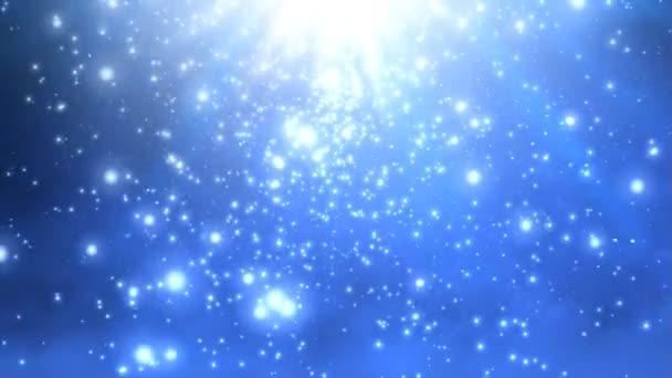 Nebeský sníh podzim 4k smyčka má sníh a částice spadající v atmosféře modré světlo přicházející shora ve smyčce