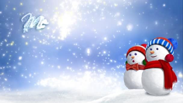 Sněhulák Glitter rostoucí Veselé Vánoce 4k smyčka rysy dvou sníh lidí sedí na sněhu s vířící sníh, mraky a třpytky částic v pozadí a animovaný text říká Veselé Vánoce