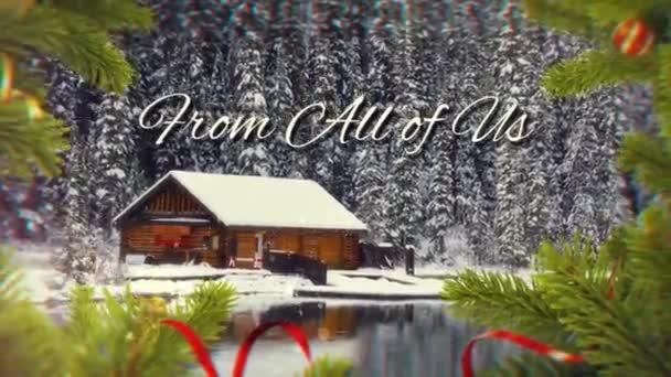 Veselé Vánoce šťastný nový rok s sněhu a borové větve 4k smyčka obsahuje fotoaparát, zoom přes vánoční scény borovice větví zprávou, Veselé Vánoce a šťastný nový rok