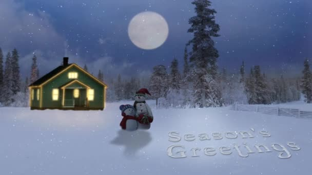 Sezony pozdravy srubu v horách na soumraku 4k Loop funkce sníh lidi před osvětlené srubu v horách za soumraku s nároky na úplněk a vánoční a novoroční poselství na sněhu ve smyčce