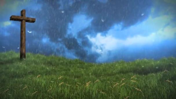 Kereszt, a domb közeledő vihar 4k hurok a következő jellegét meghatározza: egy régi fából készült keresztet, egy füves területen eső szél fújt, a felhők és a pitypang magok a légkörben