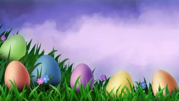 Purple Sky Easter Eggs in Grass 4K features a pile of colorful Easter eggs nestled in swaying grass with moving purple clouds in the background