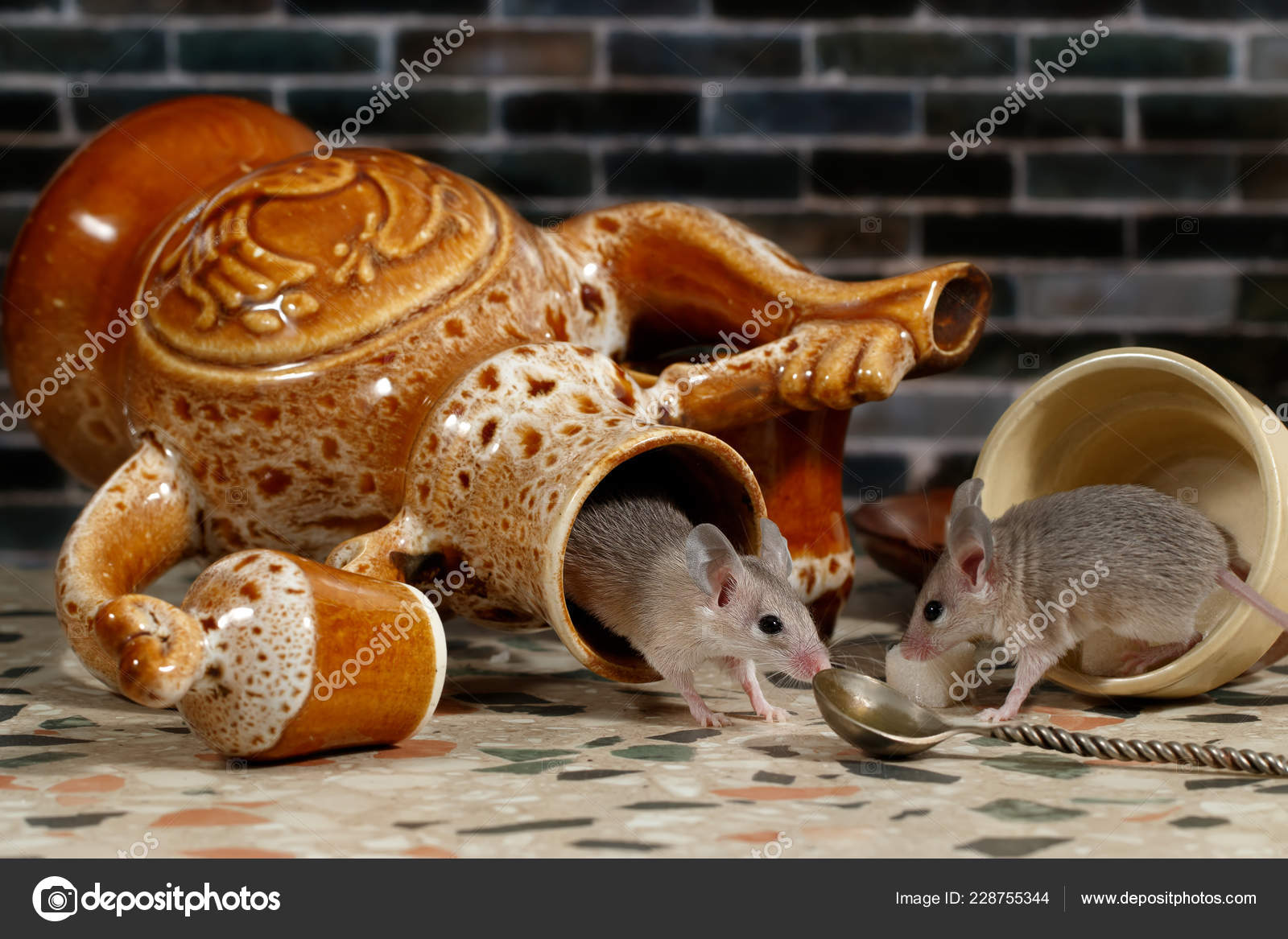 Two Mice Countertop Kitchen Background Brick Wall One Mouse ...