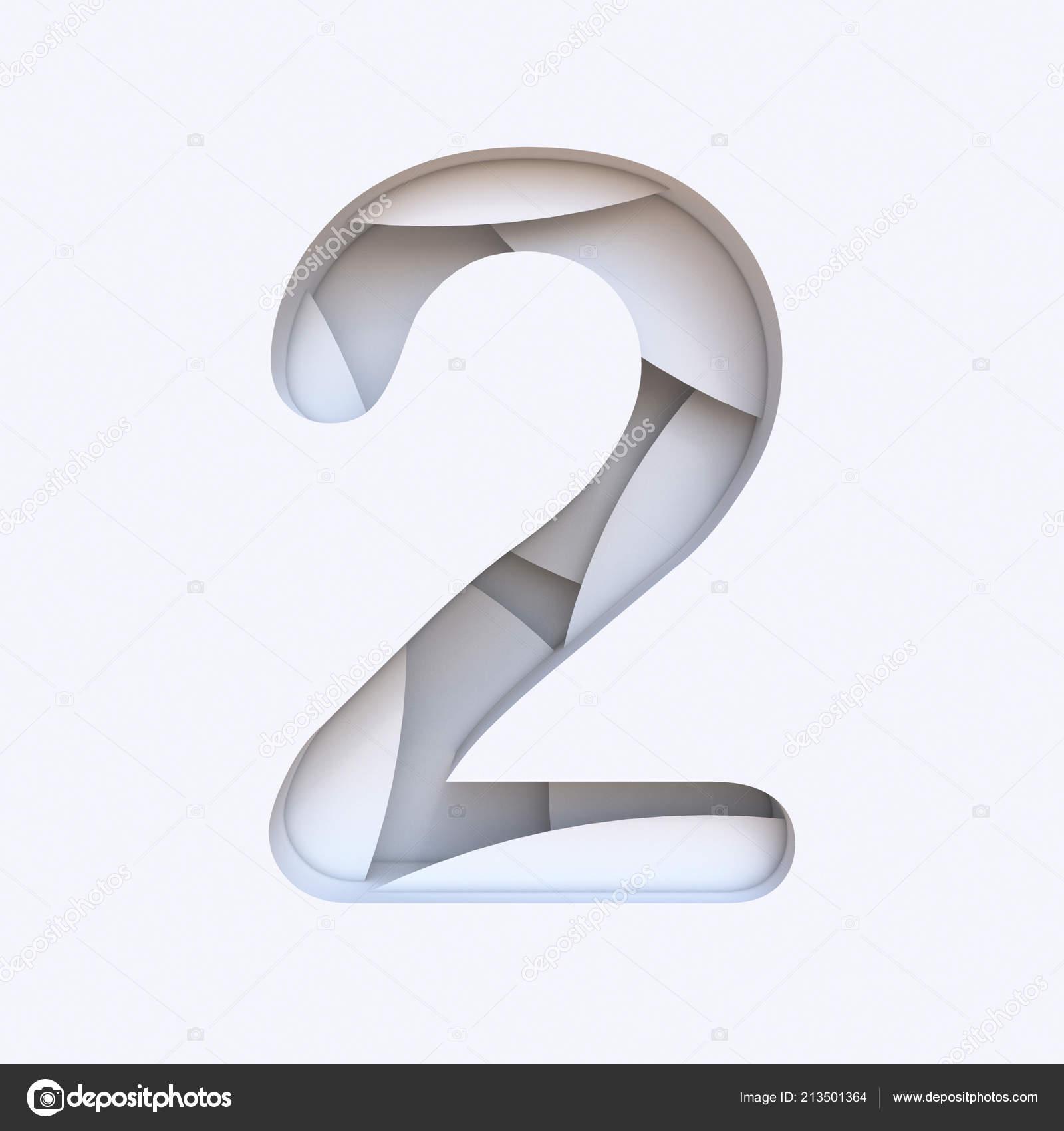 33012232c Bílé abstraktní vrstvy písmo číslo 2 dva 3d vykreslení obrázku izolovaných  na bílém pozadí– stock obrázky
