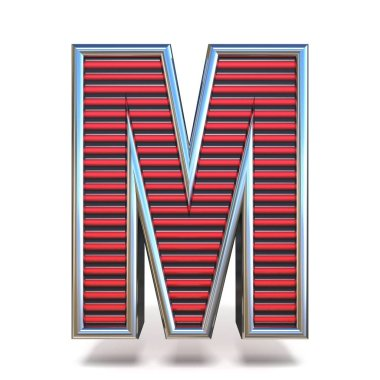 Metal red lines font Letter M 3D render illustration isolated on white background