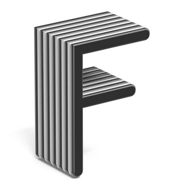 Black and white layered font Letter F 3D render illustration isolated on white background