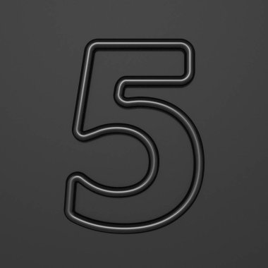 Black outline font Number 5 FIVE 3D