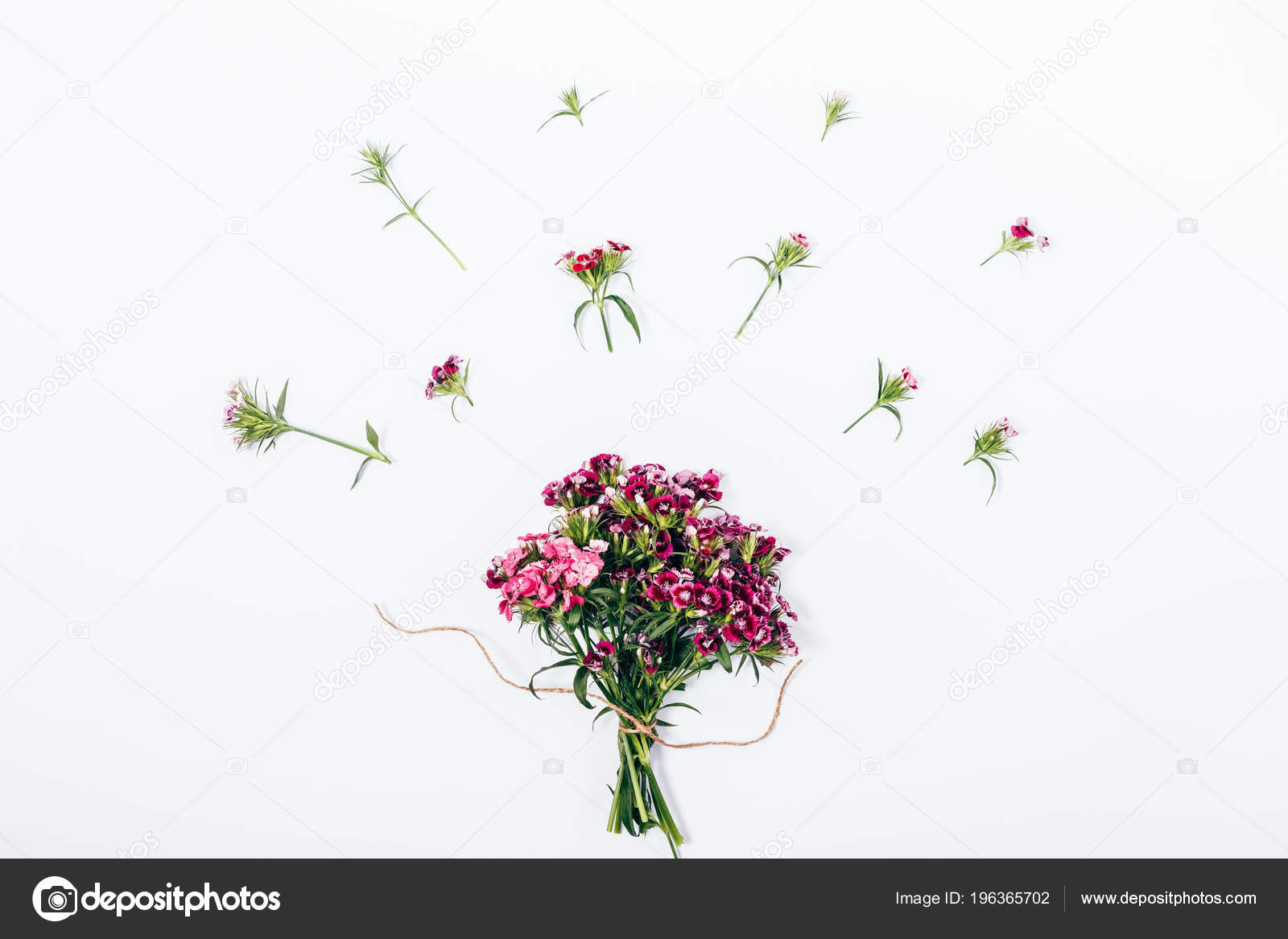 Top View Summer Composition Bouquet Little Pink Flowers Simple Flat