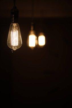Lamps with tungsten filament. Edison light bulb. Filament filament in vintage lamps. Retro design of light bulbs. stock vector