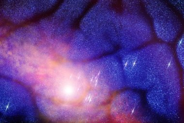 Universe in a distant galaxy with nebulae and stars