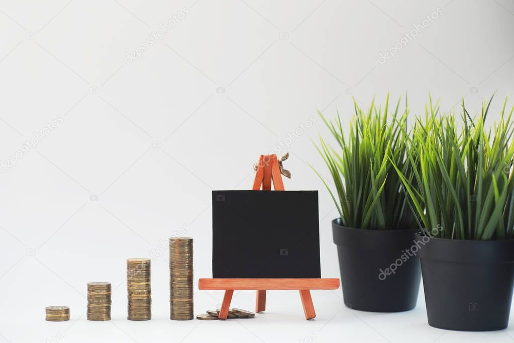 A potted plant and a pile of coins