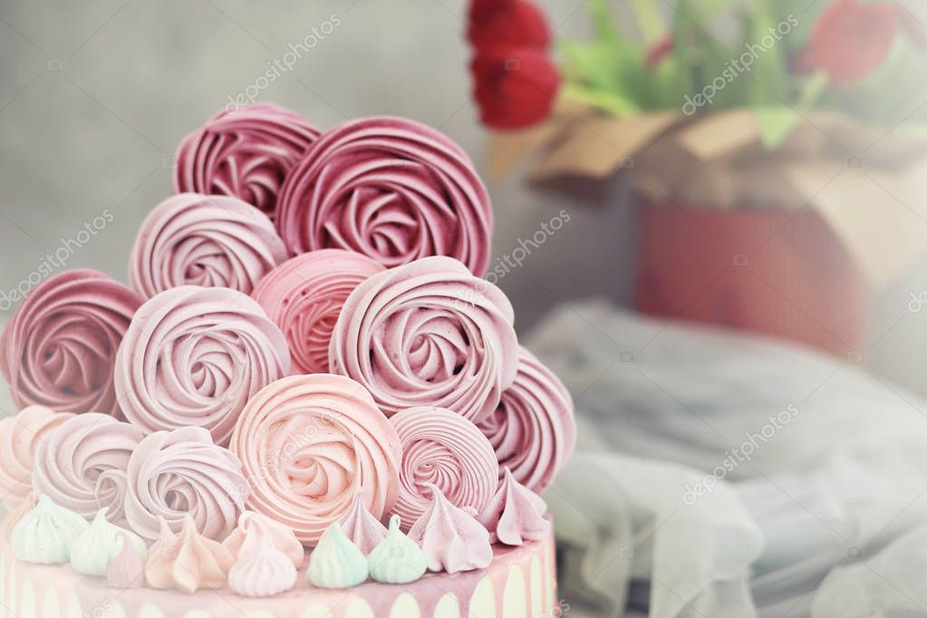 Beautiful festive cake biscuit with different creams