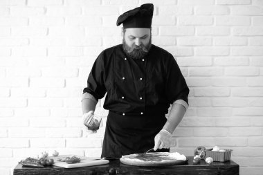 cook black and white photo