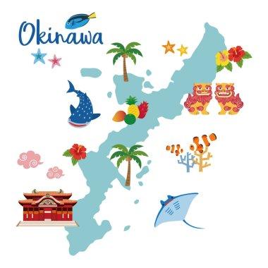 Okinawa travel map with local specialties (Shisa; tropical fruits; whale shark; hibiscus; palm tree; coral; tropical fish; starfish; strong Okinawan liquor; manta ray)
