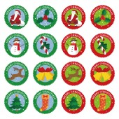 Fotografie Christmas sticker, label design (Santa Clause, Christmas tree, reindeer, snowman, bell, Christmas stocking, holly and candy cane)