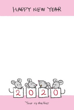 New Year card with hand drawn cute rats for year 2020