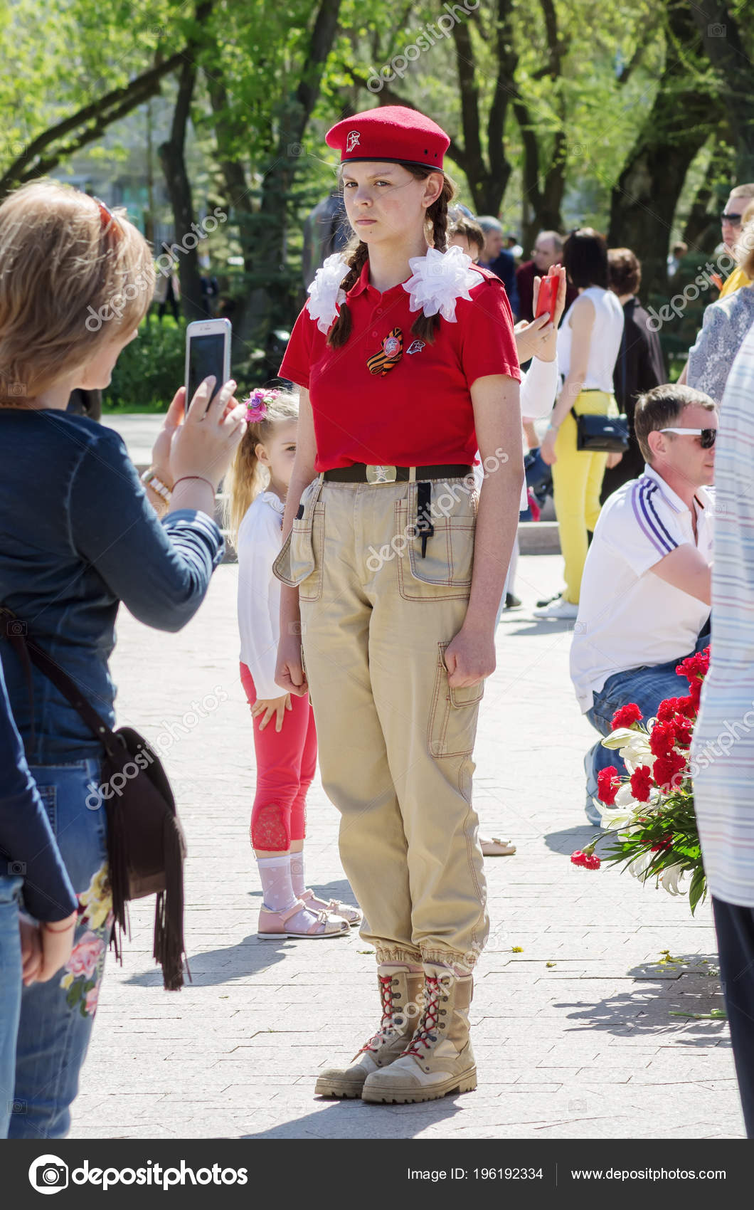 Girl Uniform Unarmy Standing Post Guard Honor Eternal Flame