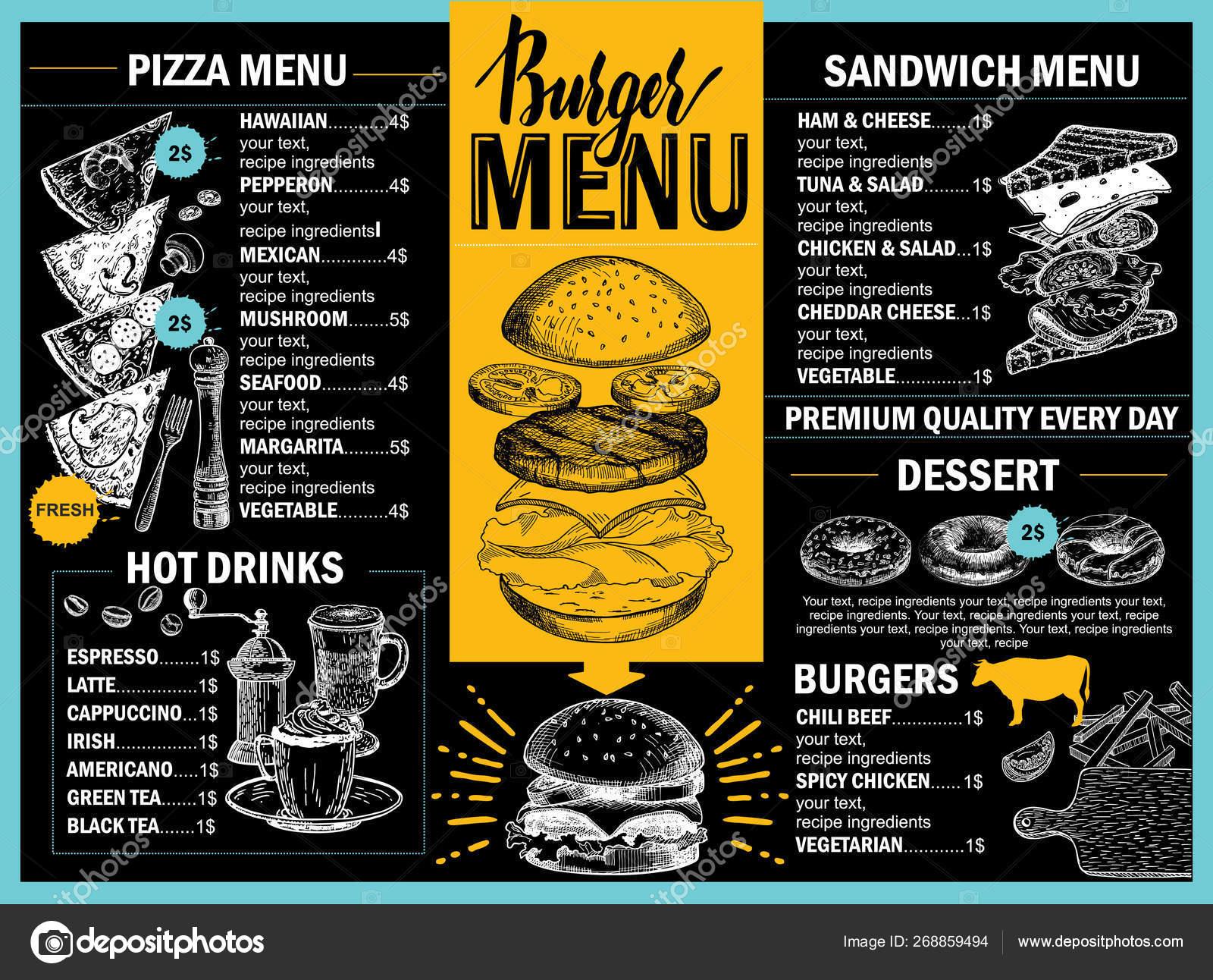 Food Menu Restaurant Cafe Design Template Hand Drawn Graphic Elements Stock Vector C Luisvv 268859494