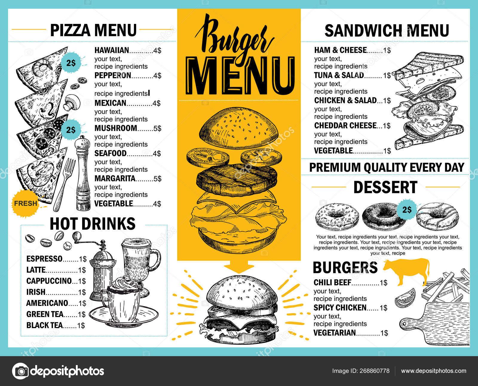 Food Menu Restaurant Cafe Design Template Hand Drawn Graphic Elements Stock Vector C Luisvv 268860778