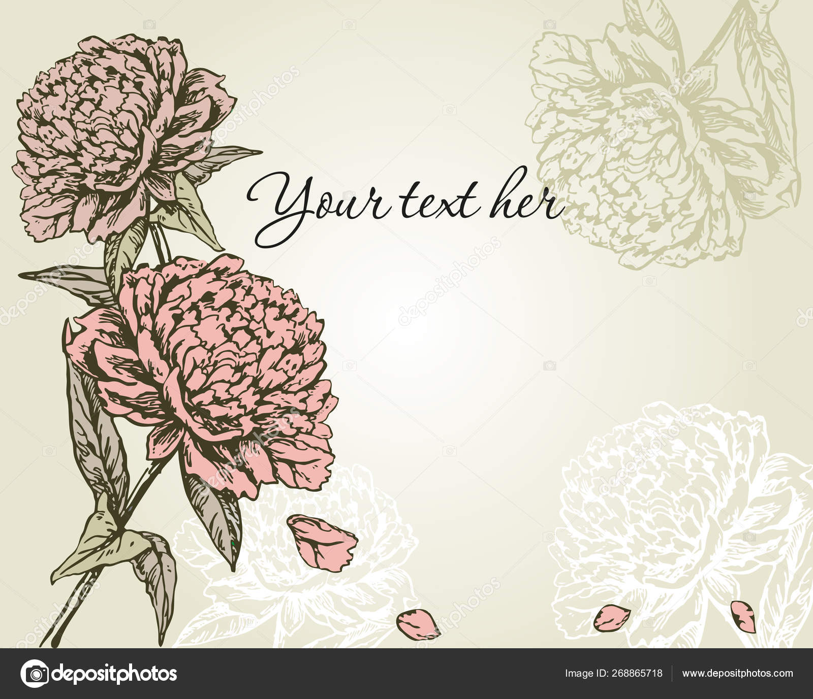Vintage Floral Card Peonies Hand Drawing Background Flowers Vector