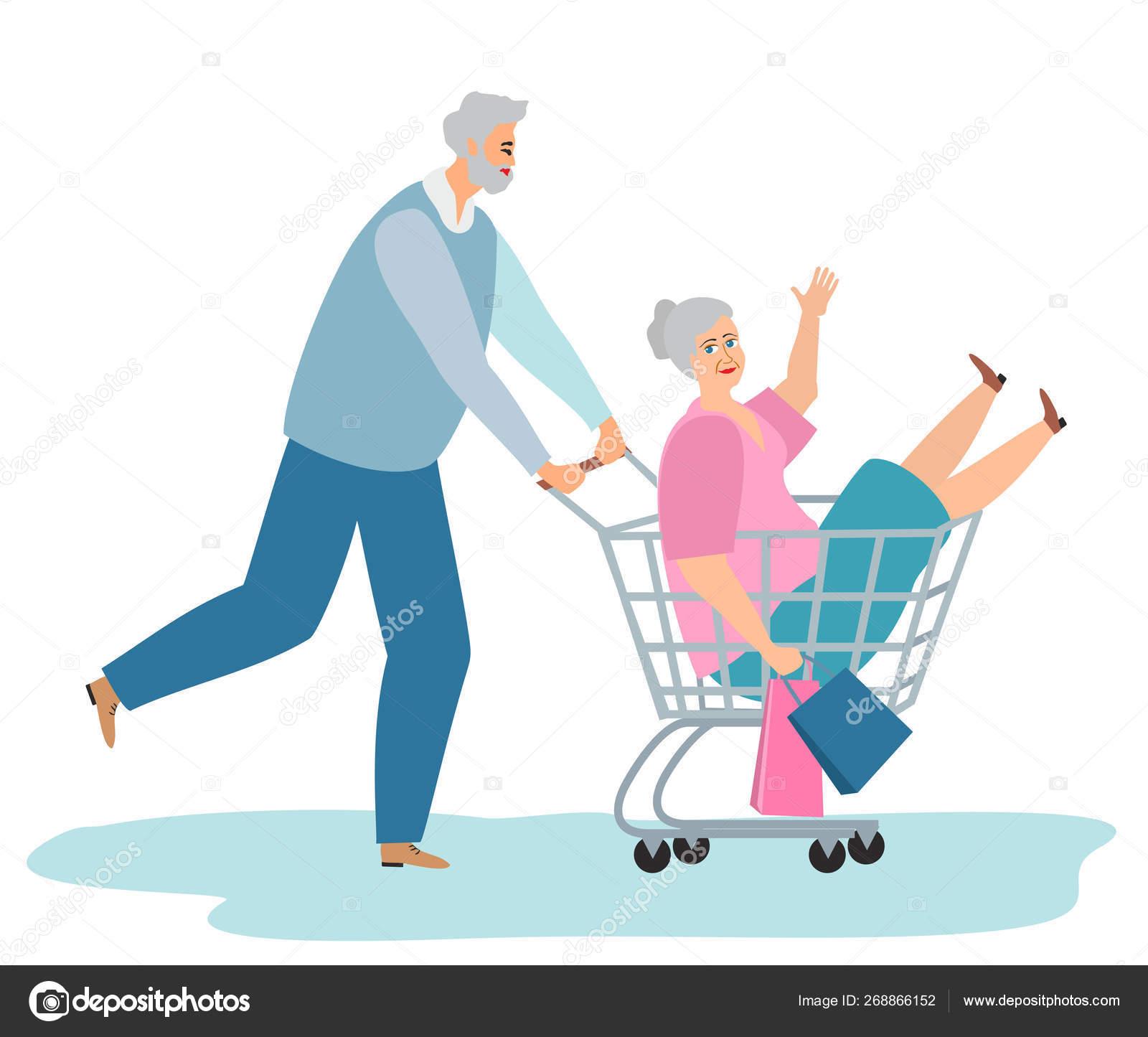 Vector Racing Shopping Trolley Cartoon Illustration Elderly People Shopping Fun Stock Vector C Luisvv 268866152