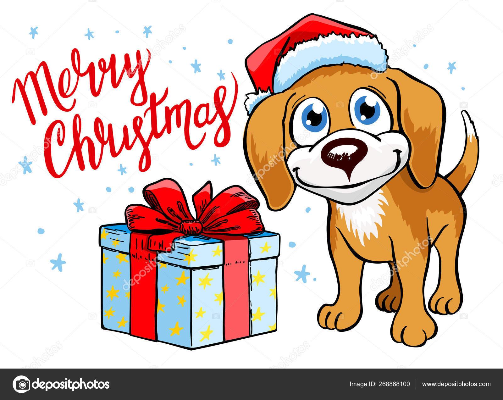 Christmas Poster Dog Merry Christmas Greeting Card Dog Santa Hat Stock Vector C Luisvv 268868100