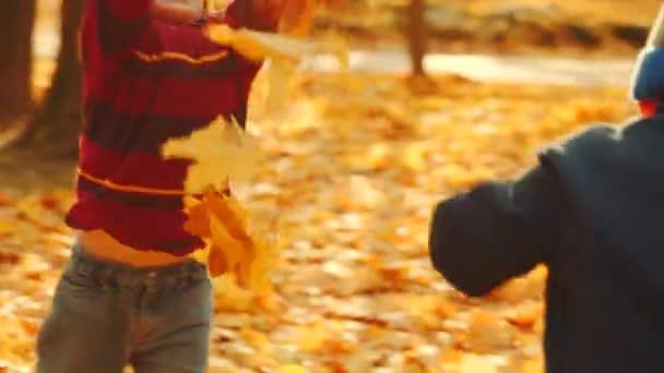 Děti si hrají s spadané listí v podzimním parku