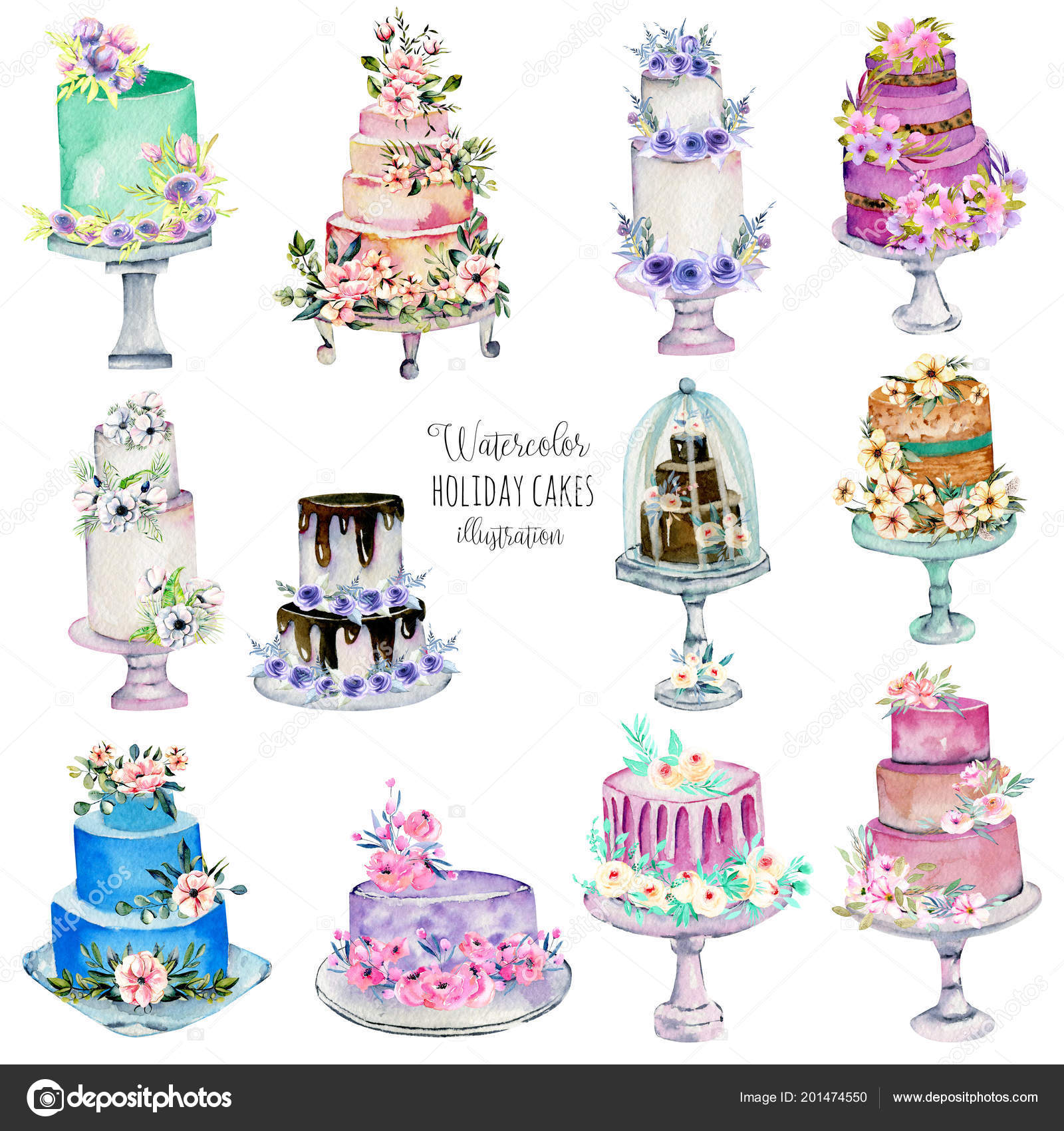 Watercolor Holiday Wedding Cakes Illustration Collection Hand ...