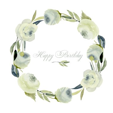 Wreath, frame border with watercolor white roses, hand painted on a white background, birthday card design