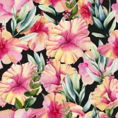 Watercolor hibiscus flowers and leaves seamless pattern, hand painted on a black background