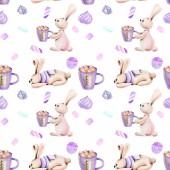 nahtloses Muster mit Aquarell niedlichen Kaninchen und Eibisch, von Hand auf weißem Hintergrund gezeichnet