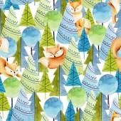 Fotografie Bezproblémové schéma akvarel roztomilých lišek a jednoduchých sprejí, ručně tažené na bílém pozadí