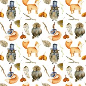 Fotografie Seamless pattern of watercolor pretty foxes, owls and forest natural elements, hand drawn on a white background