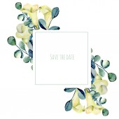 Frame with watercolor white callas flowers and eucalyptus branches, hand painted on a dark background, design perfect for wedding