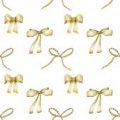 Bezešvé vzory zlatých luků, ručně tažené na bílém pozadí