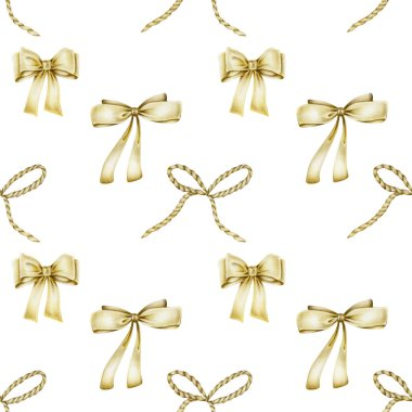 Seamless pattern of golden bows, hand drawn on a white background stock vector