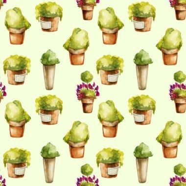 """Картина, постер, плакат, фотообои """"бесшовный рисунок акварельных растений в глиняных горшках, нарисованных вручную на зеленом фоне постеры плакаты"""", артикул 307406534"""