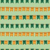 Zökkenőmentes minta ír színek zászlók Szent Patrik napi ünneplés, kézzel rajzolt zöld háttér