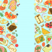 Fotografie Borders of sandwiches with different ingredients, hand drawn on a turquoise background