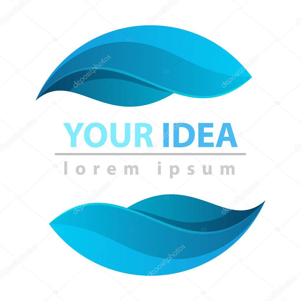 dpor, water, blue leaf icon logo Vector eps 10