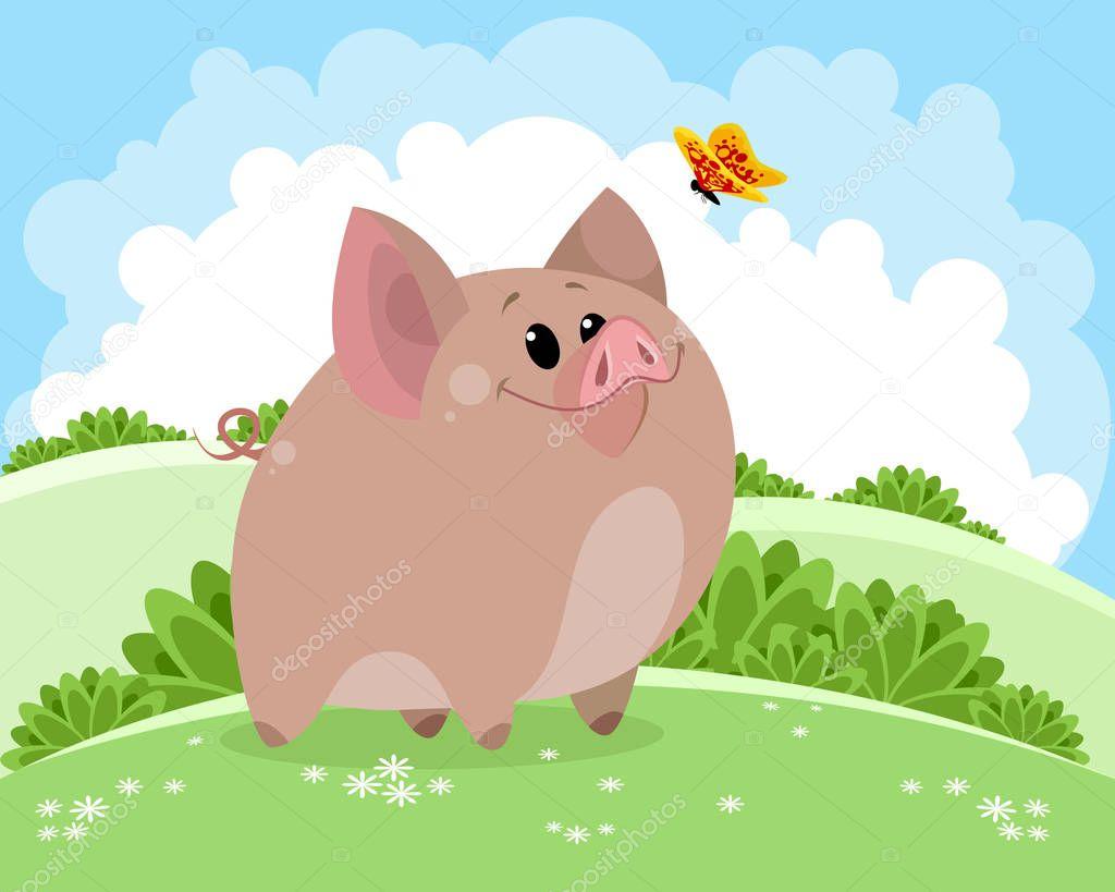 Vector illustration of piggy on fresh air
