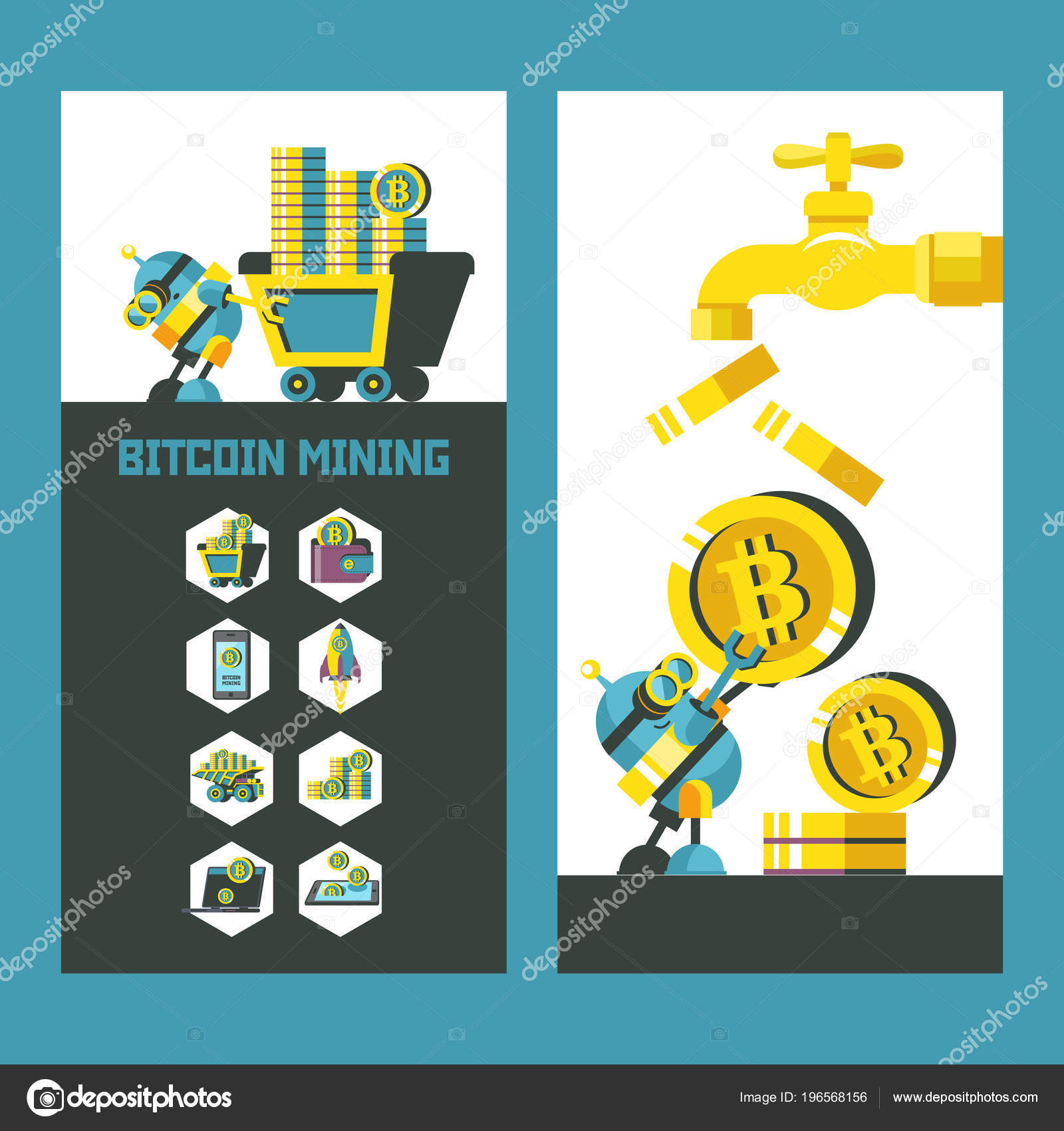Bitcoin Mining Vector Illustration Bitcoin Icon Set Bitcoin Faucet ...