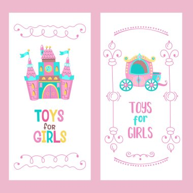 Toys for little princesses. Set of vector cliparts. Pink castle for the Princess, a beautiful carriage. Cute hand drawn frame.