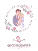 Wedding invitation. Happy weddings. Beautiful wedding card with kissing groom and bride. Vector illustration with space for text decorated with delicate wedding flowers.